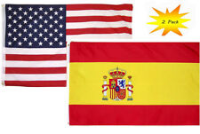 3x5 3'x5' Wholesale Set (2 Pack) USA American & Spain Country Flag Banner