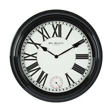 RETRO 50CM LARGE BLACK METAL DEEP CASED WALL CLOCK WITH SECOND DIAL.NEW.