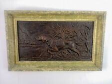 1928 Antique Bronze Plaque Hunting Dog On Point Art Deco Frames 2 available
