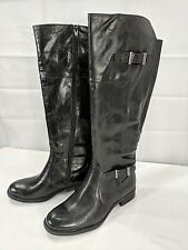 YUU womens ROLO black leather look low heel boots size 7 1/2 M