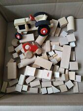 Bauklötze Holz natur Konvolut Bausteine mit Traktor und Auto