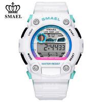 SMAEL Men Digital Watch Big Dial White Electronic Wristwatch LED Rubber Watches