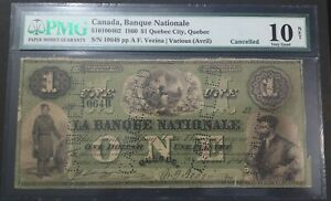 $1 1860 Banque Nationale PMG VG-10 net 510-10-04-02 Canada Quebec City