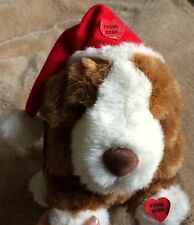 "Christmas Santa Dog Russ Berrie 8"" Barks Carols Brown White Santa Hat See Video"