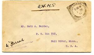Nyasaland 1911 stampless OHMS cover signed Postmaster General sent Zomba to USA