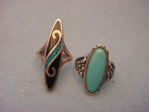 Vintage Sterling & Turquoise Rings Lot Of Two