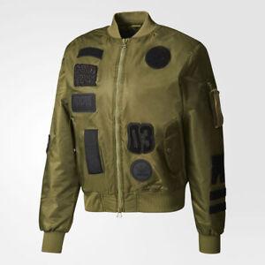 new adidas LOGO PADDED BOMBER JACKET sz M olive green originals fashion top coat