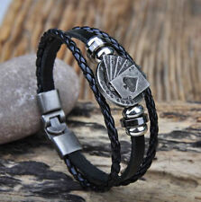 Biker Ladies MENS LEATHER WRISTBAND Bracelet Black ACE OF SPADES MOTORHEAD LEMMY