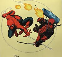 ED McGUINNESS rare DEADPOOL & SPIDEY print SIGNED limited SDCC exclusive 16x16