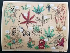 vintage 70s tattoo flash black dragon houston TX weed 420 mj opium giclee print