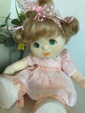 Mattel My Child Doll. Aqua eyed, ash blonde wearing a beautiful pink pinny dress