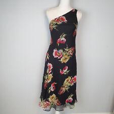 Ralph Lauren One Shoulder Black/Floral Dress Size 8, 100% Silk Party ad