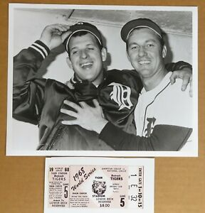 1968 Tigers World Series Kaline & Lolich  MVP Photo with Replica Ticket Stub !