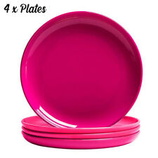 COOKY.D Unbreakable Colourful Round Tritan-Plastic Dinner Plates Set Dishwasher