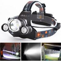 30000LM 3X XM-L T6 LED Headlamp 2X 18650 Head light Torch Flashlight Zoomable