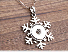 DIY snowflake Alloy Pendant Fit for Noosa Necklace Snap Chunk Button OA05