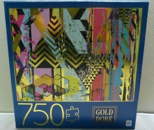 """Gold Dore 750 Piece Jigsaw Puzzle - Triangles 27"""" x 20"""" - New Sealed"""