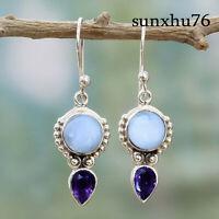 Women Jewelry  Moonstone EarringsVintage Amethyst Dangle Drop Hook