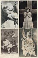 EARLY 1900's 4 x VINTAGE GORGEOUS GIRLS & BOYS POSTCARDS - ALL ONLY FAIR Cond!!!