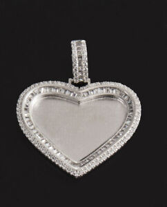 Sterling Silver CZ Heart Shaped Picture Frame 3mm Pendent