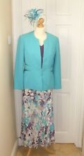 12 Jacques Vert White Turquoise Purple Skirt Top Jacket Mother of the Bride Suit