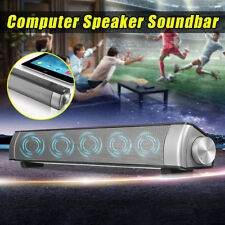 USB Subwoofer Speaker Audio Sound Bar 3.5mm Earphone Mic Port For PC Computer