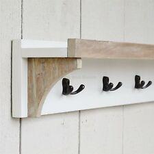 Coat Rack Wall Shelf  Wooden 3 Hook and Shelf Antique White