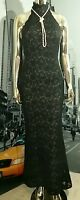 🎀Vintage VICTOR COSTA Black Lace BOMBSHELL MERMAID WIGGLE Full LENGTH Dress 6