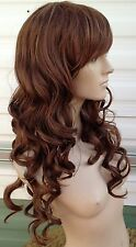 Brown curly wavy fringe very long hair wig fancy dress cosplay free cap