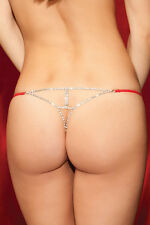 Red Sheer Mesh G-string Thong Silver Rhinestone Burlesque Valentine Panties 7677