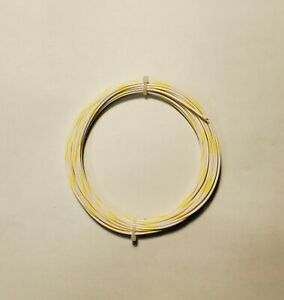 20 AWG, 600V Mil-Spec Wire (PTFE) Wht/Yel, Stranded Silver Plated, 25 ft
