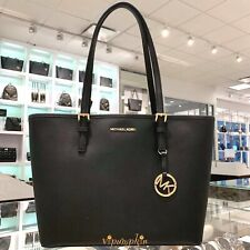 MICHAEL KORS JET SET TRAVEL MEDIUM CARRYALL TOTE LEATHER BAG BLACK