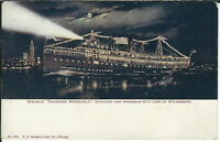 AB-041 - Steamship Theodore Roosevelt at Night, 1907-1915 Golden Age Postcard