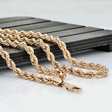 "Men's solid 14k Gold Filled twist rope chain hip hop jewelry chain 25"" 5mm"