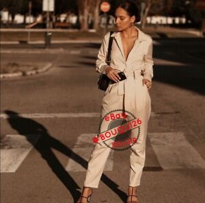 ZARA NWT ECRU SHIRT STYLE JUMPSUIT WITH BELT SHIRT OVERALL SIZE XS REF:8126/048