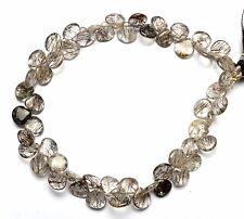 "Natural Gem Sri Lanka Black Rutile Quartz Smooth Heart Shape Briolette Beads 8"""