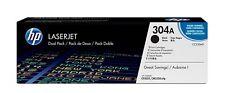 HP 304A (CC530A) Black Toner Cartridge, 2 Toner Cartridges (CC530AD)