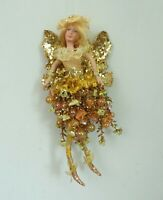 Christmas Ornament Gold Fairy Large Wood Nymph Fancy Whimsical Holiday Decor
