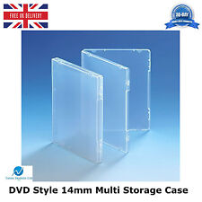 25 x Ultra Claro DVD estilo 14 mm columna vertebral Multi Caja de almacenamiento sin disco titular HQ