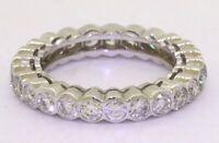 18K white gold elegant 2.0CTW diamond eternity band ring size 5.75