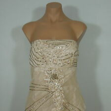 SUE WONG NOCTURNE Formal Champagne Strapless Dress, Beaded, Woman's size 8