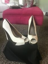 White and Brown High Heel Open Wedge Womens Shoe,