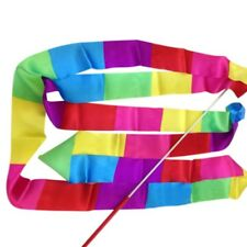 4m Rainbow Gymnastic Ribbon Rhythmic Dance Ribbon Streamer Baton Twirling Rod UK