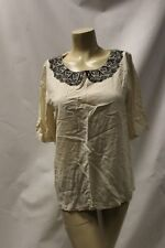 Ladies Ivory Vero Moda Top with Lace Effect Neckline Size S