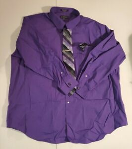 Bill Robinson Mens Button Up Dress Shirt Blue Size 3XL With Tie 578-27