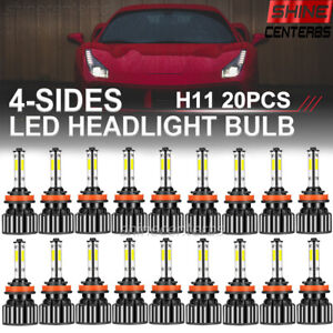 20X Lots 4 Sides H11 LED Headlight High Low Beam Bulb 1800W 216000LM 6000K White