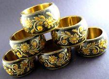 New listing Gorgeous Set Of 6 Napking Rings Black & Gold Design (2 set available)(C8)