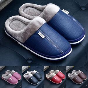 Women Men Slippers Sole PVC PU Leather Waterproof Soft Warm Home Winter 36-41