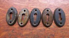 Five Antique Brass Craftsman Keyhole Plates - c1920