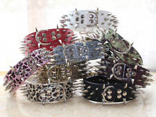 Large Breed Leather Spiked Studded Big Dog Collars Necklace Pitbull Terrier L XL